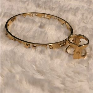 Tory Burch Gold Logo Bangle Bracelet and Ring